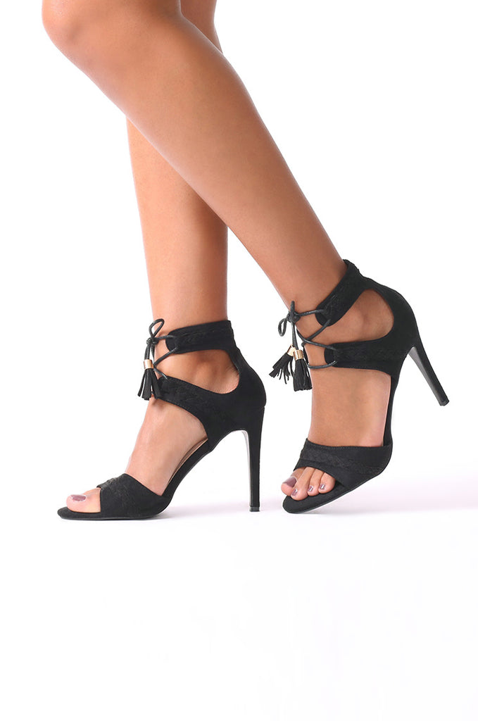SCM0078-BLACK SUEDE PLAIT STRAPPY HEELS