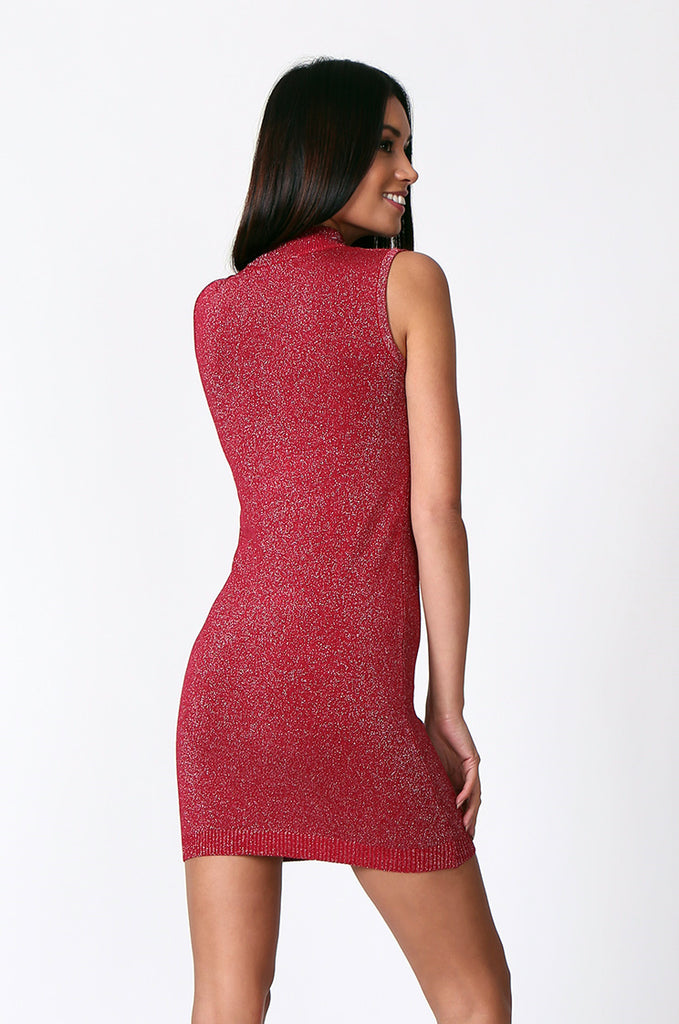 SP0127-RED METALLIC TURTLE NECK MINI DRESS view 3