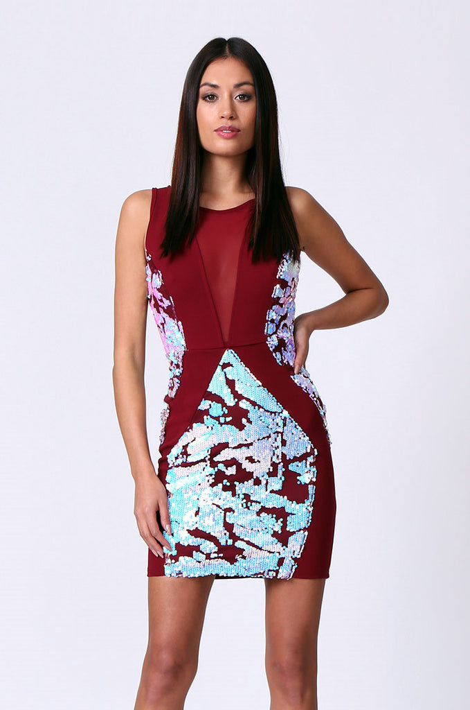 SPF0207-RED SEQUIN PANEL MESH INSERT MINI DRESS