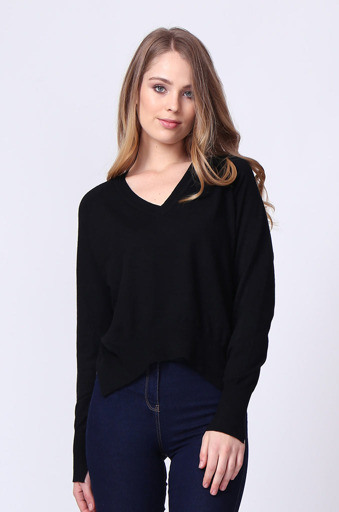 SJ0168-BLACK DOUBLE V-NECK SIDE SLIT JUMPER