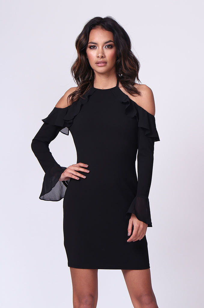 SPF0259-BLACK TIE NECK RUFFLE MINI DRESS