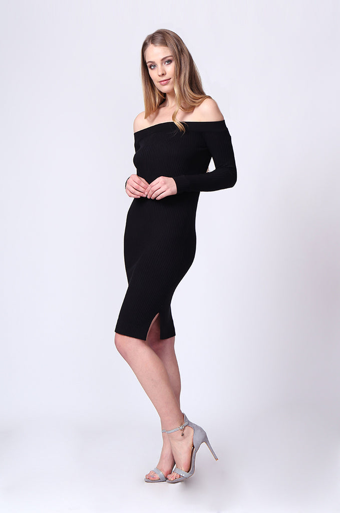 OFF SHOULDER LONG SLEEVE RIB KNIT MIDI DRESS