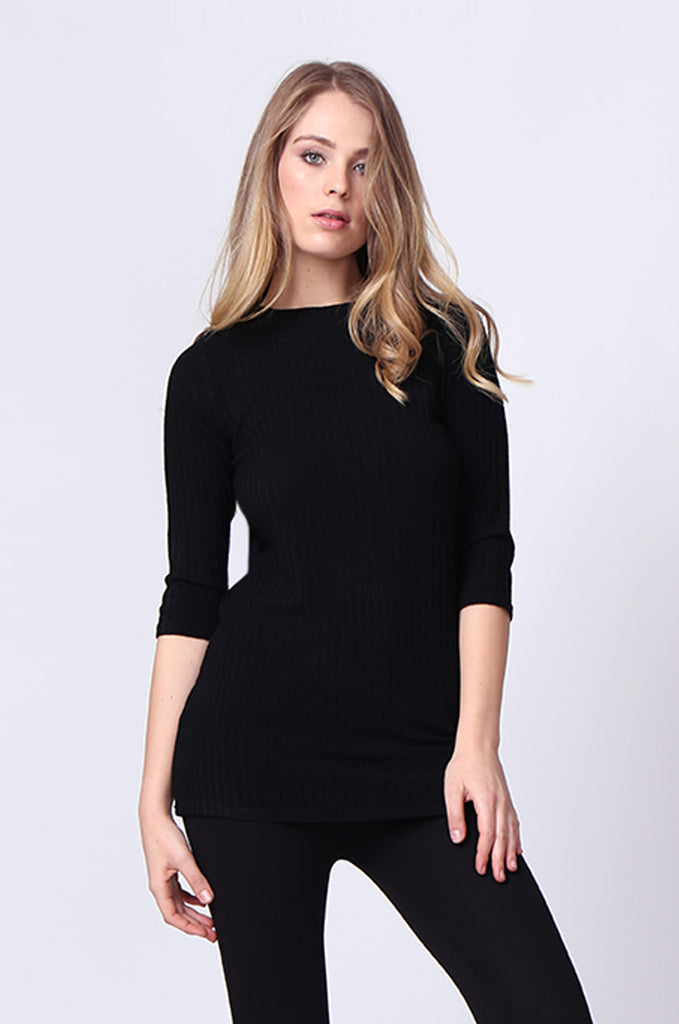 SJ0174-BLACK BUCKLE BACK RIBBED TUNIC TOP
