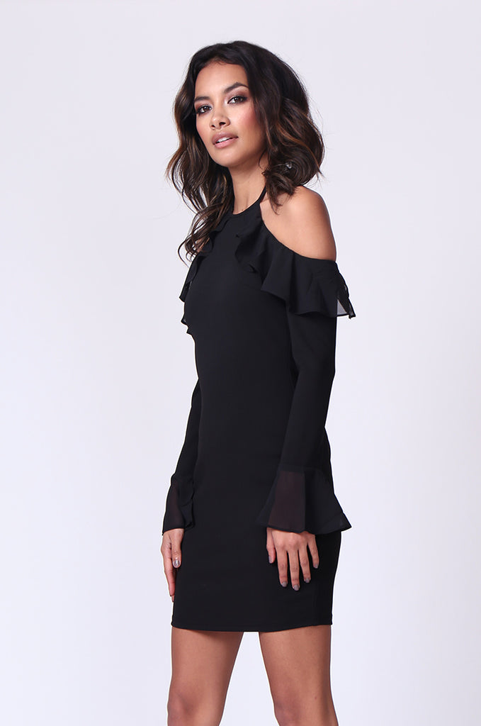 SPF0259-BLACK TIE NECK RUFFLE MINI DRESS view 2