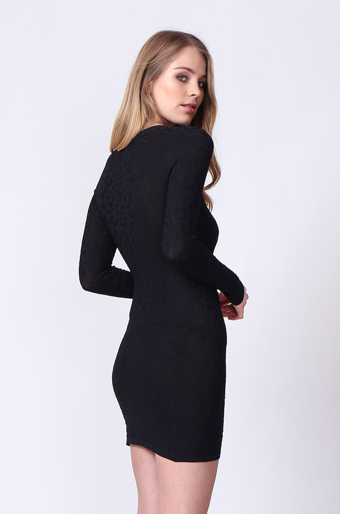 SJ0178-BLACK JACQUARD LONG SLEEVE KNIT MINI DRESS view 2