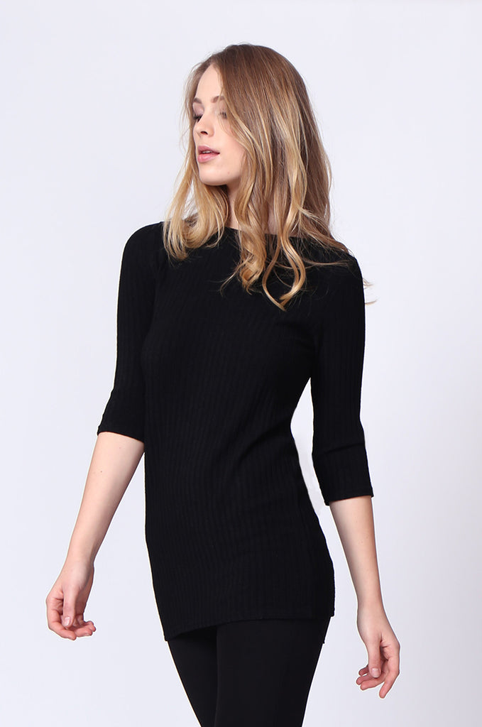 SJ0174-BLACK BUCKLE BACK RIBBED TUNIC TOP view 2