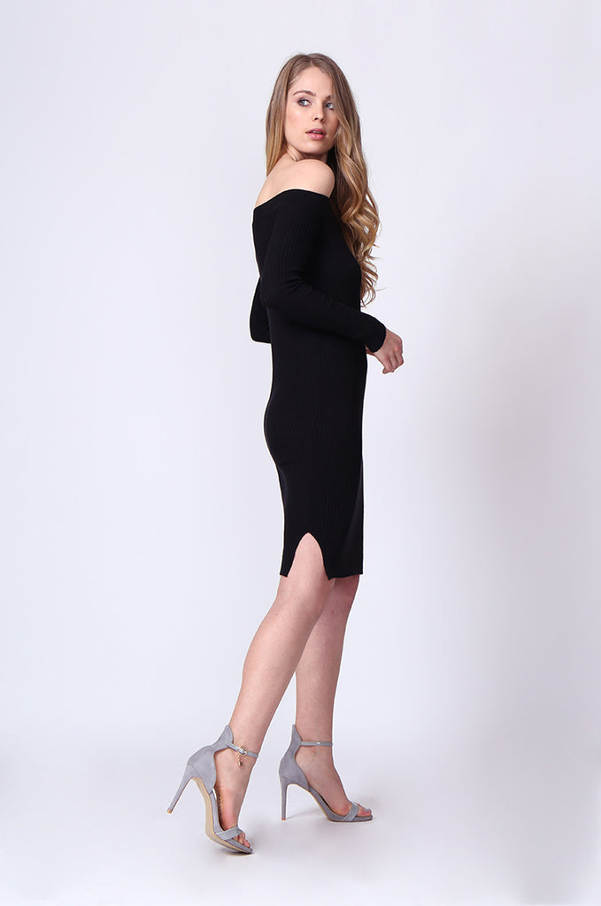 SJ0164-BLACK OFF SHOULDER LONG SLEEVE RIB KNIT MIDI DRESS view 2