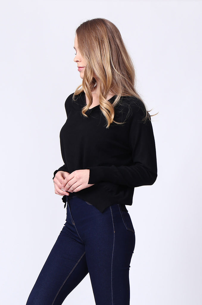 SJ0168-BLACK DOUBLE V-NECK SIDE SLIT JUMPER view 2