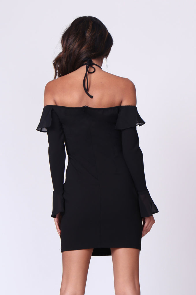 SPF0259-BLACK TIE NECK RUFFLE MINI DRESS view 3