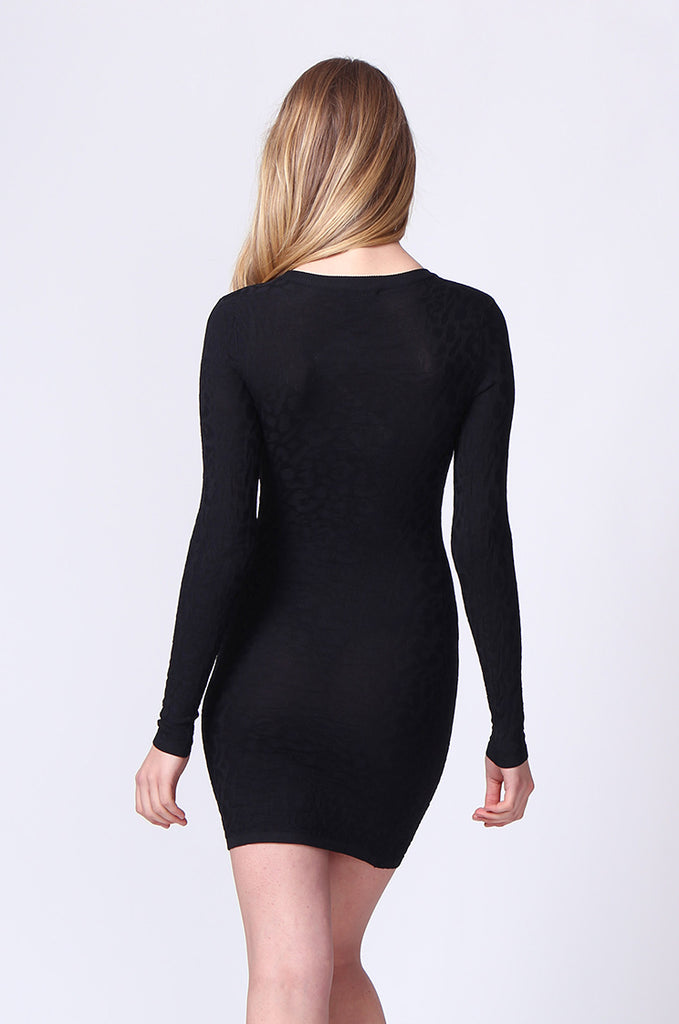 SJ0178-BLACK JACQUARD LONG SLEEVE KNIT MINI DRESS view 3