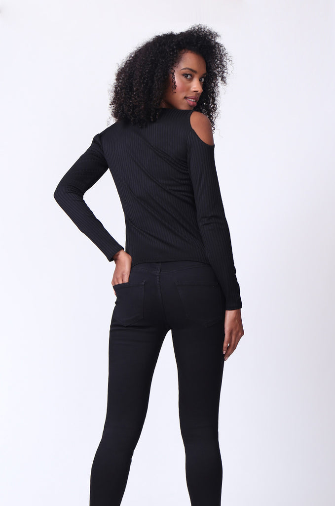 SMU0245-BLACK OPEN SHOULDER RIBBED LONG SLEEVE TOP view 3