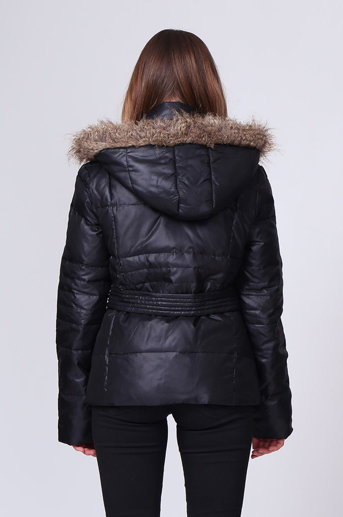 SMT0182-BLACK SHORT LINE PUFFA PARKA view 3