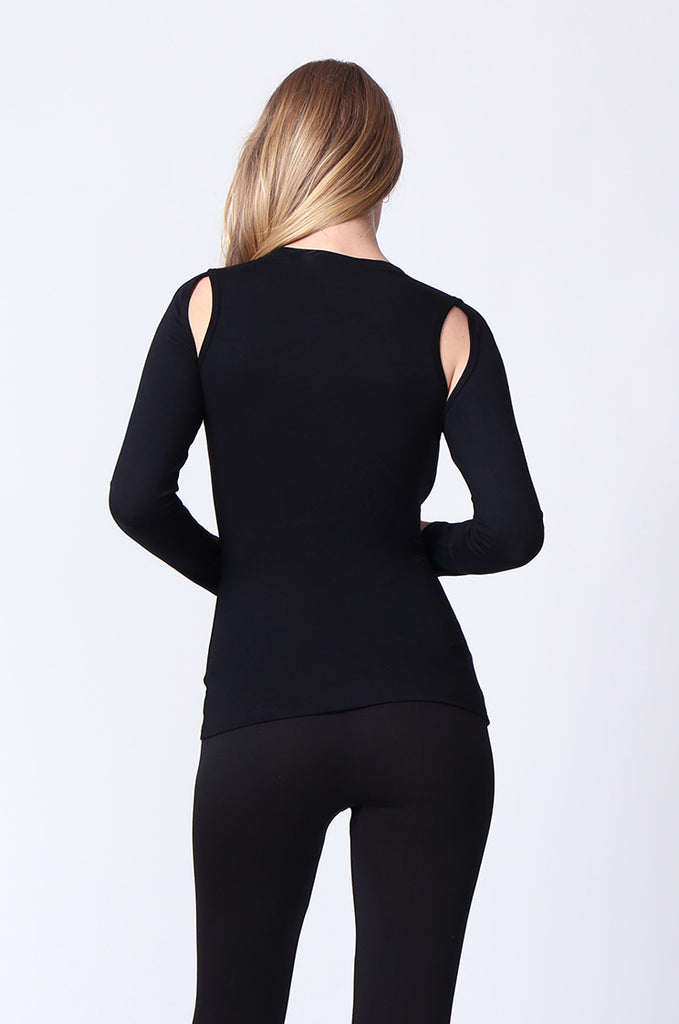 SJ0167-BLACK KEYHOLE LONG SLEEVE TOP view 3