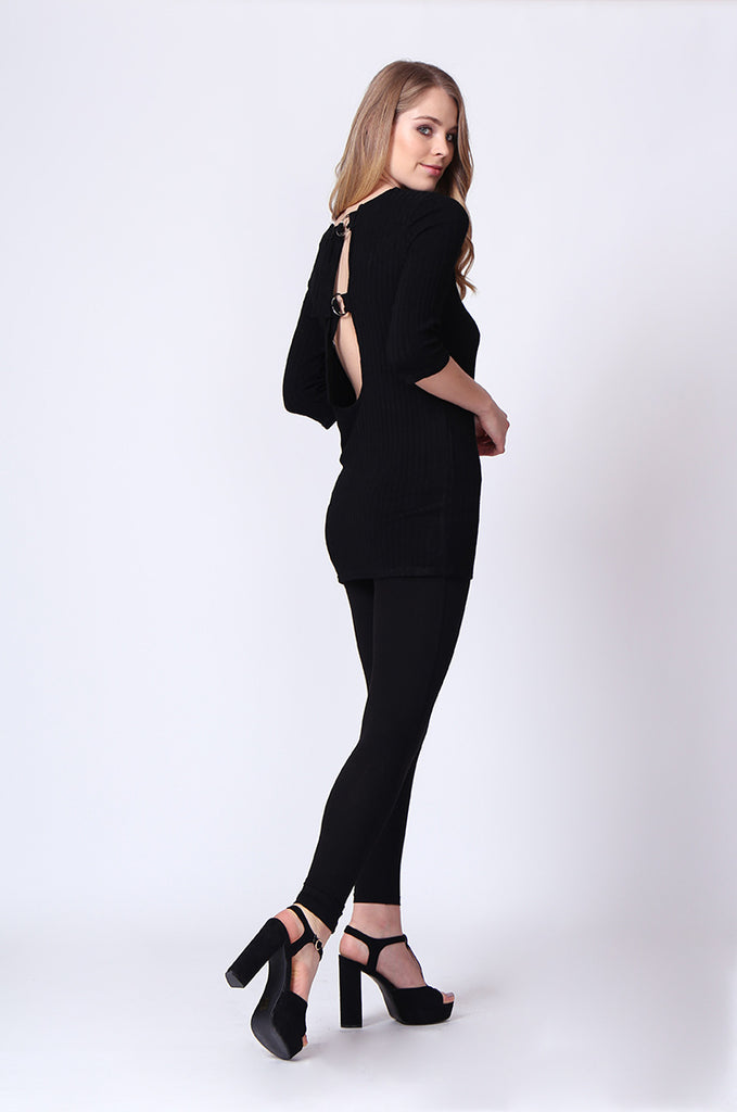 SJ0174-BLACK BUCKLE BACK RIBBED TUNIC TOP view 4