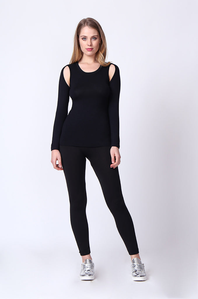 SJ0167-BLACK KEYHOLE LONG SLEEVE TOP view 4