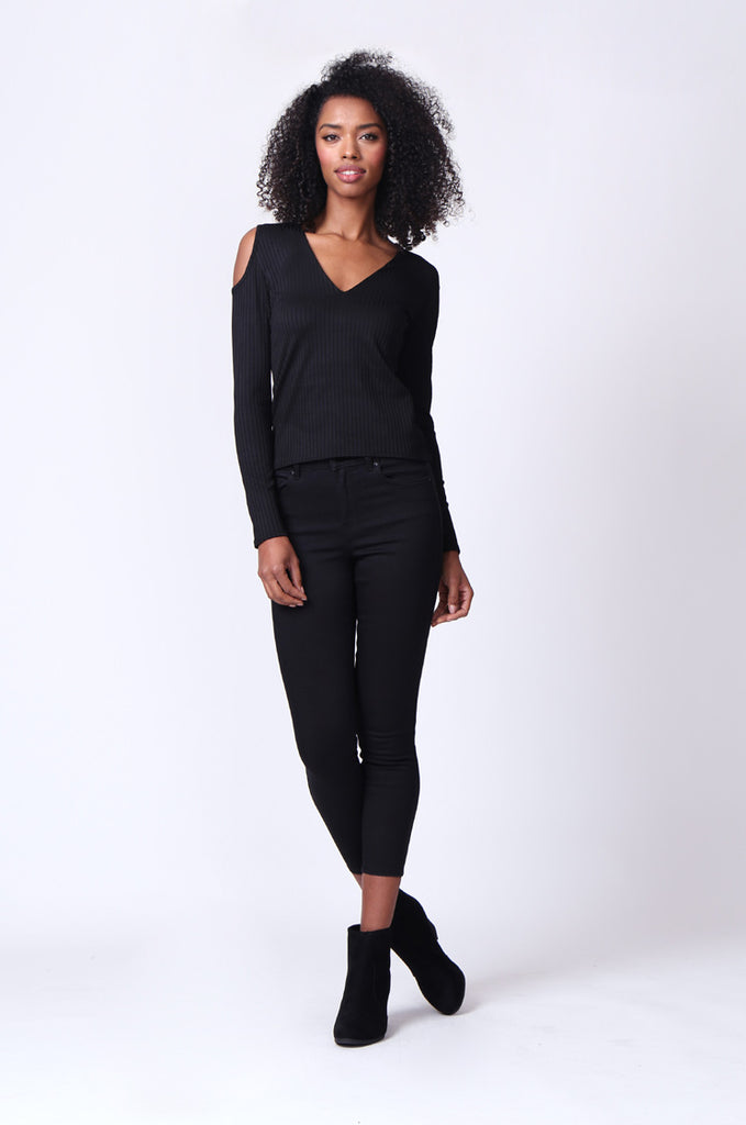 SMU0245-BLACK OPEN SHOULDER RIBBED LONG SLEEVE TOP view 4