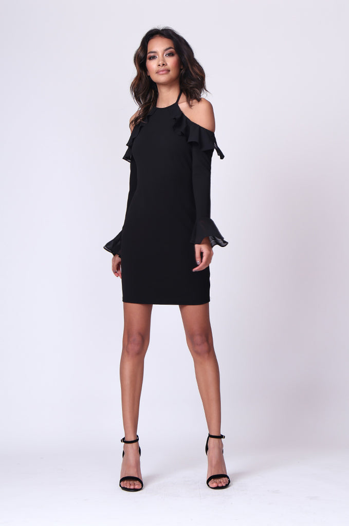 SPF0259-BLACK TIE NECK RUFFLE MINI DRESS view 4