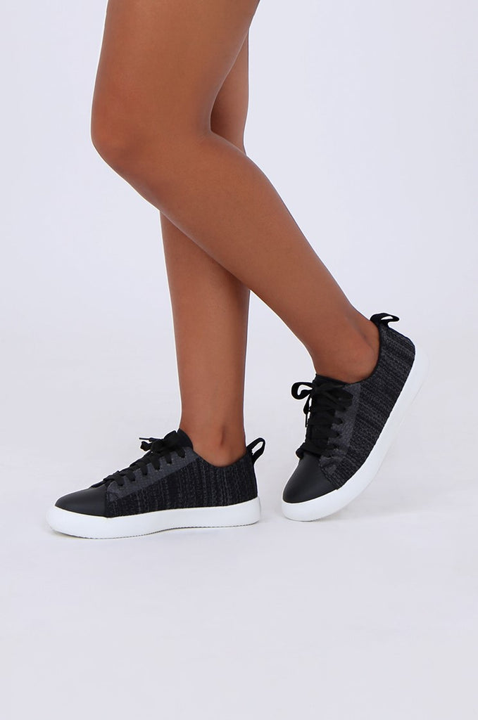 SMY1612-BLACK MESH LACE UP TRAINER view 2