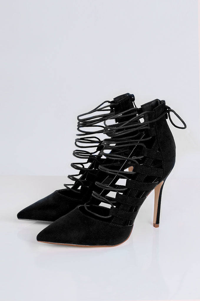 SEW2177-BLACK POINT TOE LACE UP STILETTOS