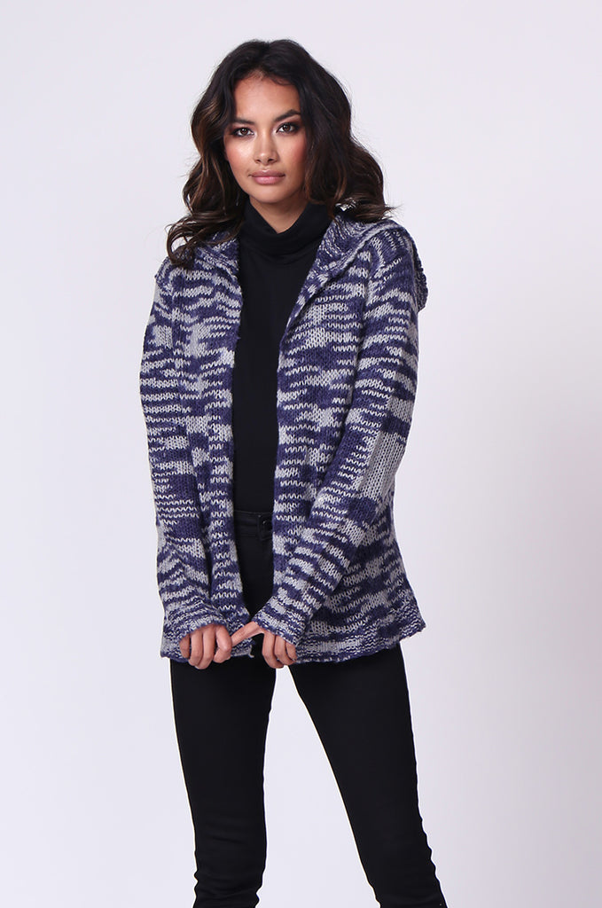 SF0055-BLUE TWEEDY HOODED CARDIGAN