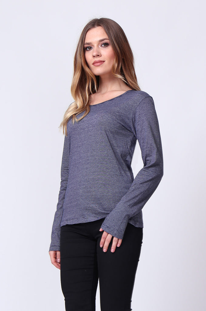 SF0157-NAVY BASIC STRIPED LONG SLEEVE CREW NECK view 2