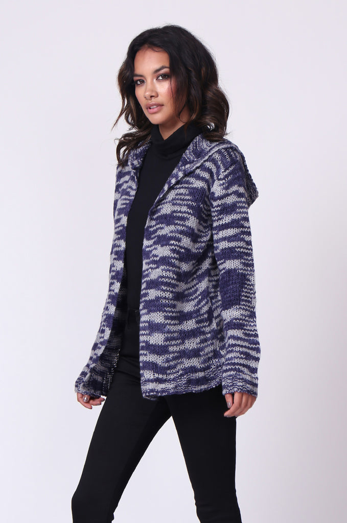 SF0055-BLUE TWEEDY HOODED CARDIGAN view 2