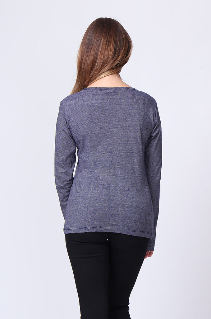 SF0157-NAVY BASIC STRIPED LONG SLEEVE CREW NECK view 3