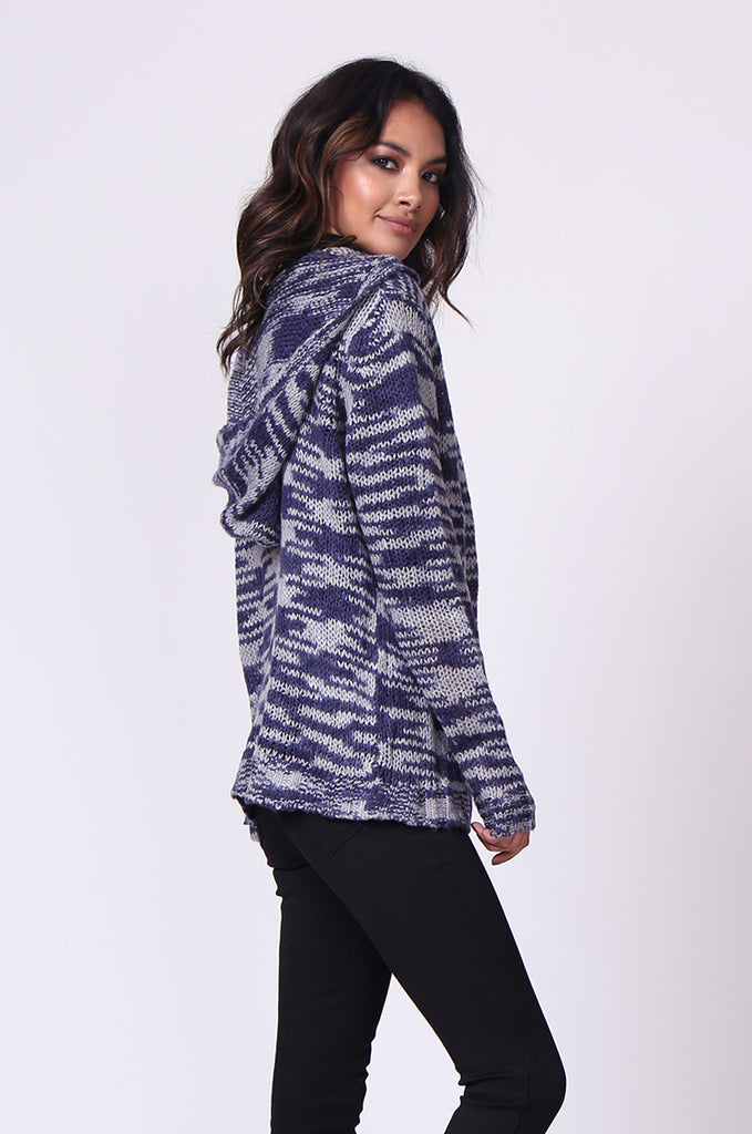SF0055-BLUE TWEEDY HOODED CARDIGAN view 3