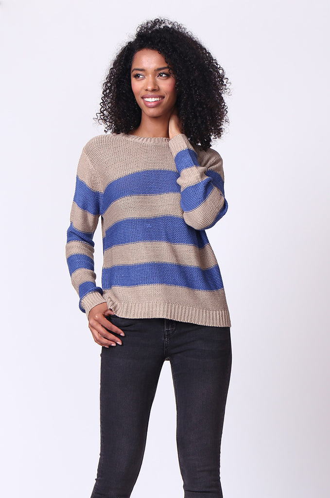 SF0058-BLUE BLOCK STRIPE CREW NECK JUMPER