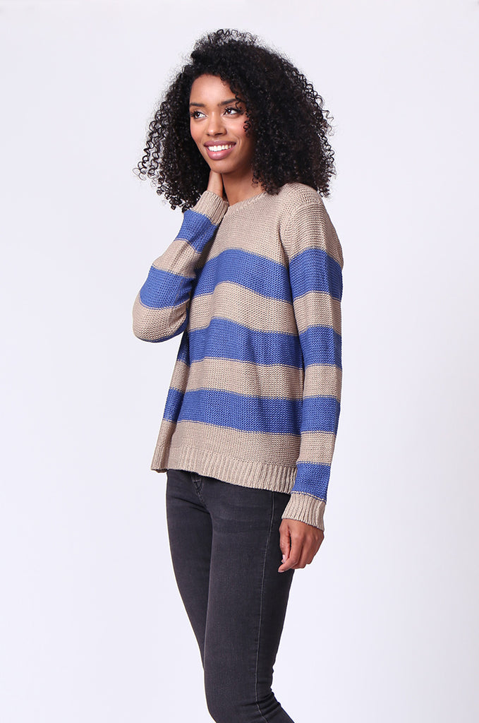 SF0058-BLUE BLOCK STRIPE CREW NECK JUMPER view 2