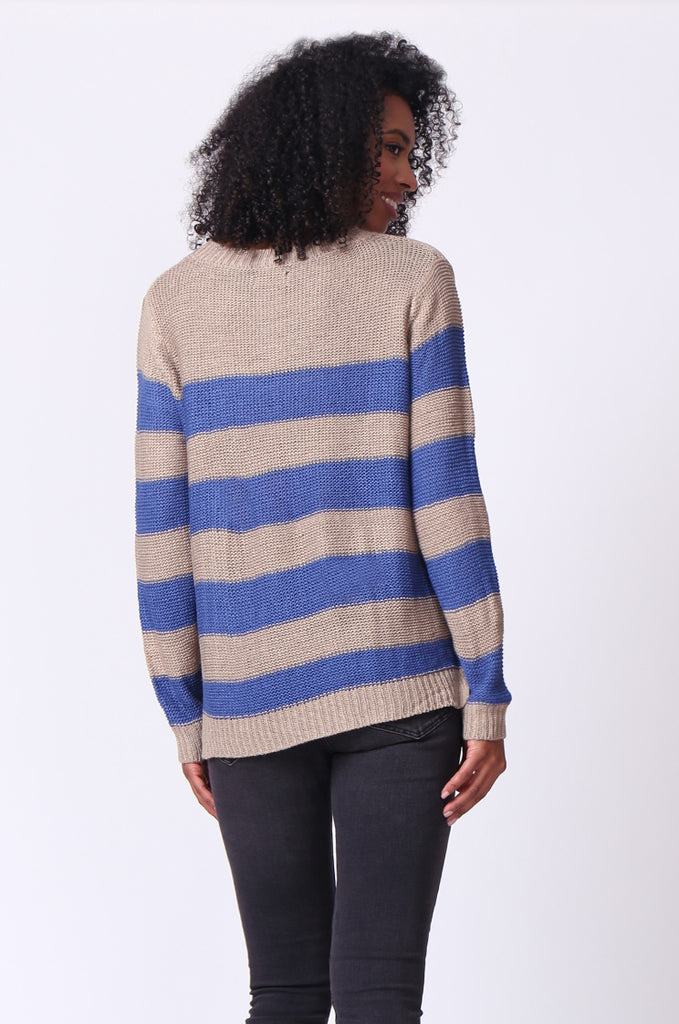 SF0058-BLUE BLOCK STRIPE CREW NECK JUMPER view 3