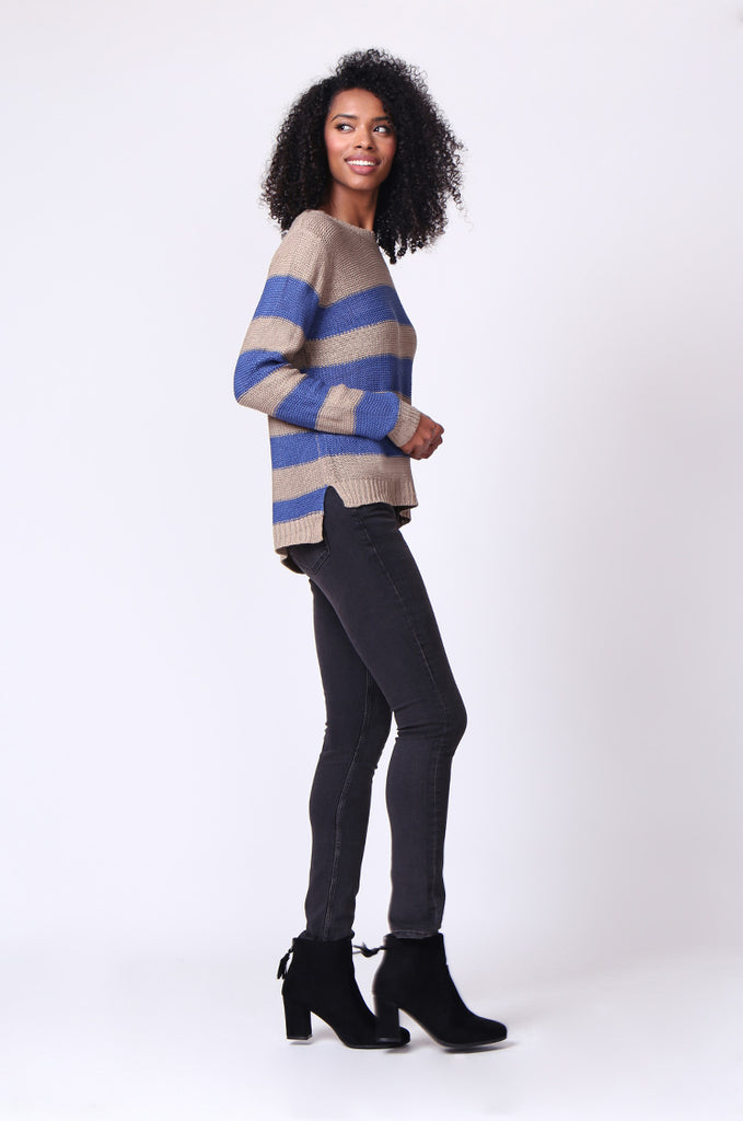 SF0058-BLUE BLOCK STRIPE CREW NECK JUMPER view 4