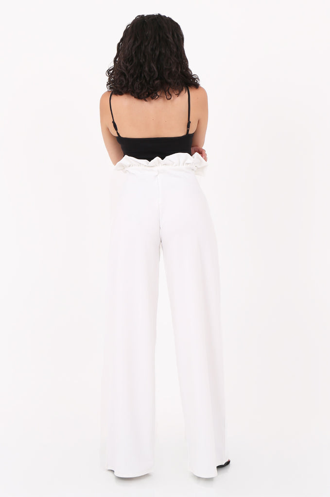 SOY2555-CREAM PAPERBAG TIE FRONT HIGH WAISTED TROUSER view 3