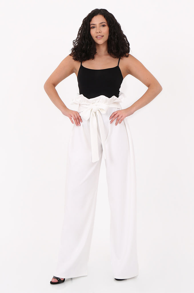 SOY2555-CREAM PAPERBAG TIE FRONT HIGH WAISTED TROUSER view main view