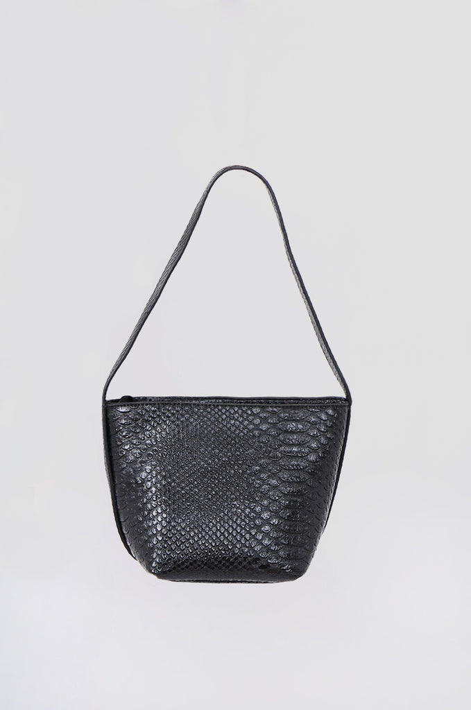 SMB0466-BLACK CROCODILE SHOULDER BAG view 2