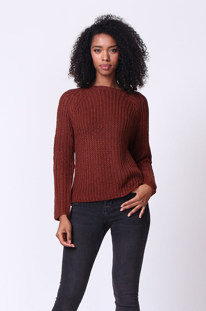 SF0235-BROWN CHUNKY CABLE KNIT JUMPER