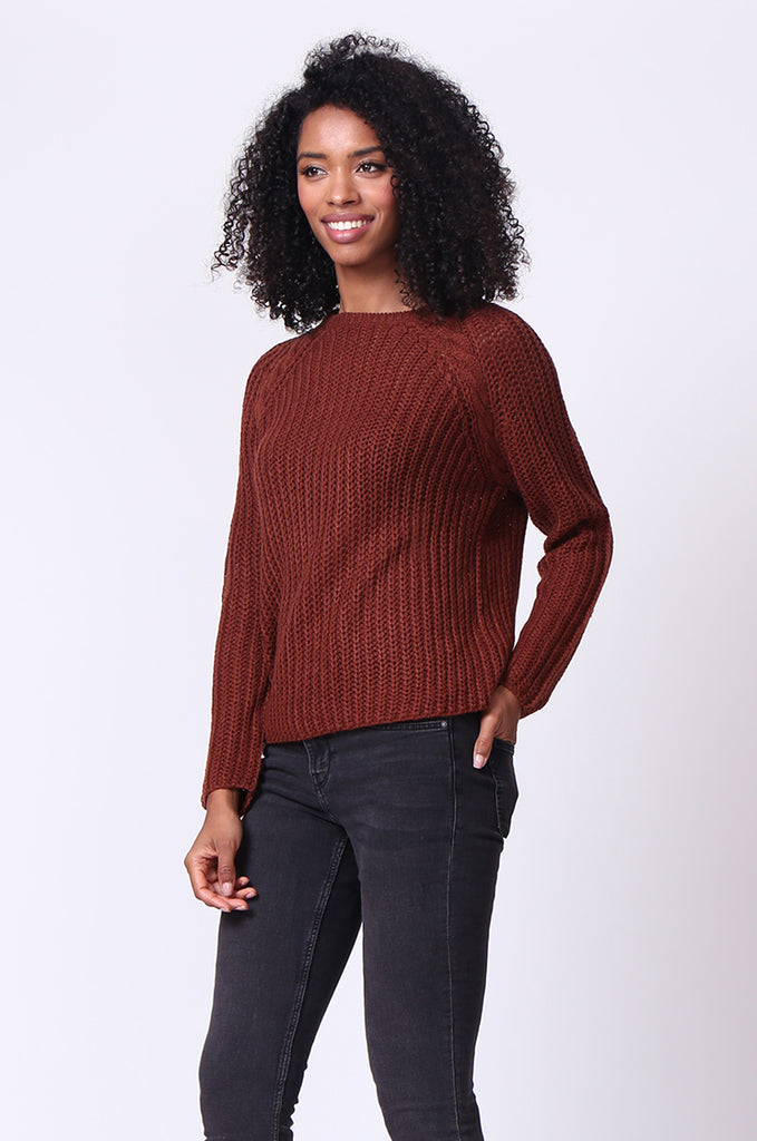 SF0235-BROWN CHUNKY CABLE KNIT JUMPER view 2