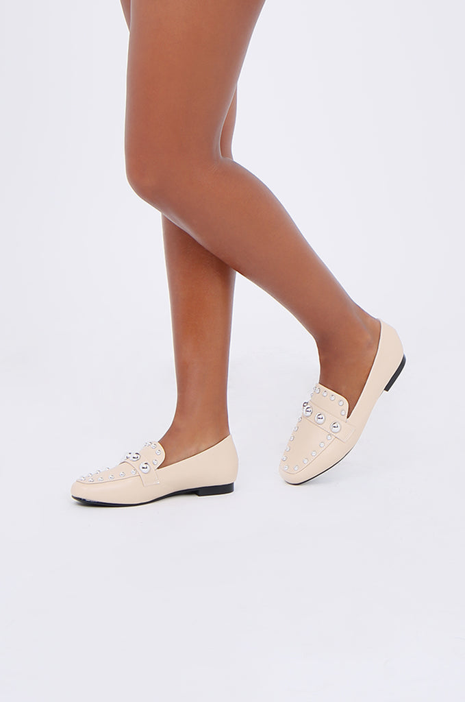 SMY1835-BEIGE STUDDED ROUND TOE LOAFER view 2