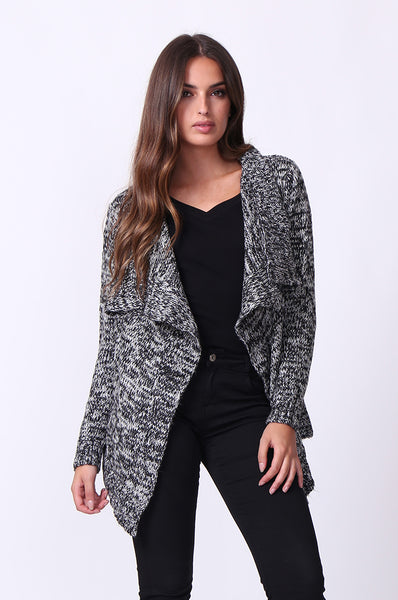 TWEEDY WATERFALL LONG SLEEVE CARDIGAN