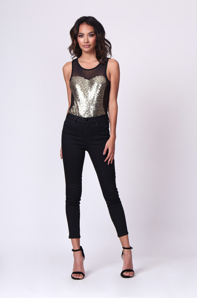 SP0232-GOLD SEQUIN MESH BODY view 4
