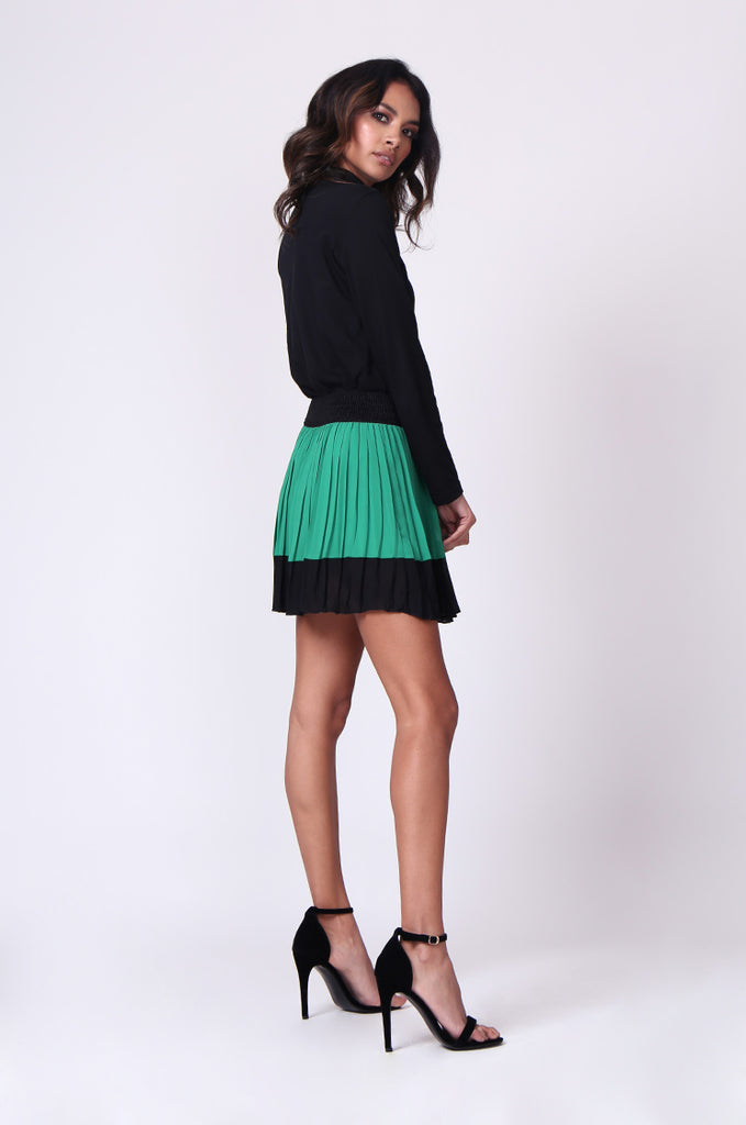 SP0131-GREEN CONTRAST PLEATED MINI SKIRT view 4