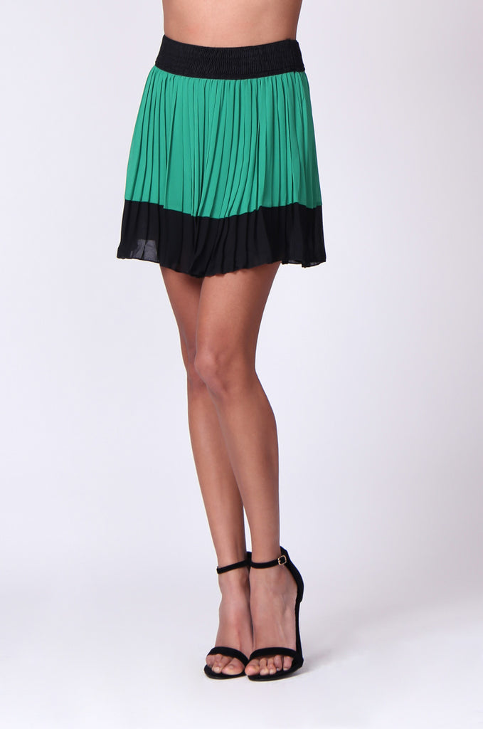SP0131-GREEN CONTRAST PLEATED MINI SKIRT view 5