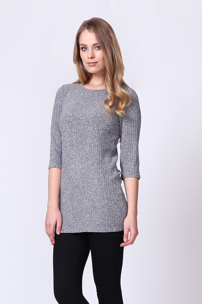 SJ0174-GREY BUCKLE BACK RIBBED TUNIC TOP view main view