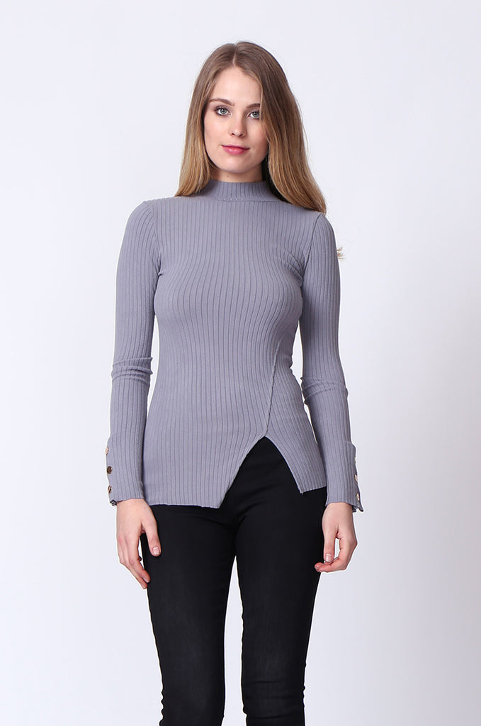 SJ0169-GREY LONG SLEEVE MOCK NECK TOP view main view