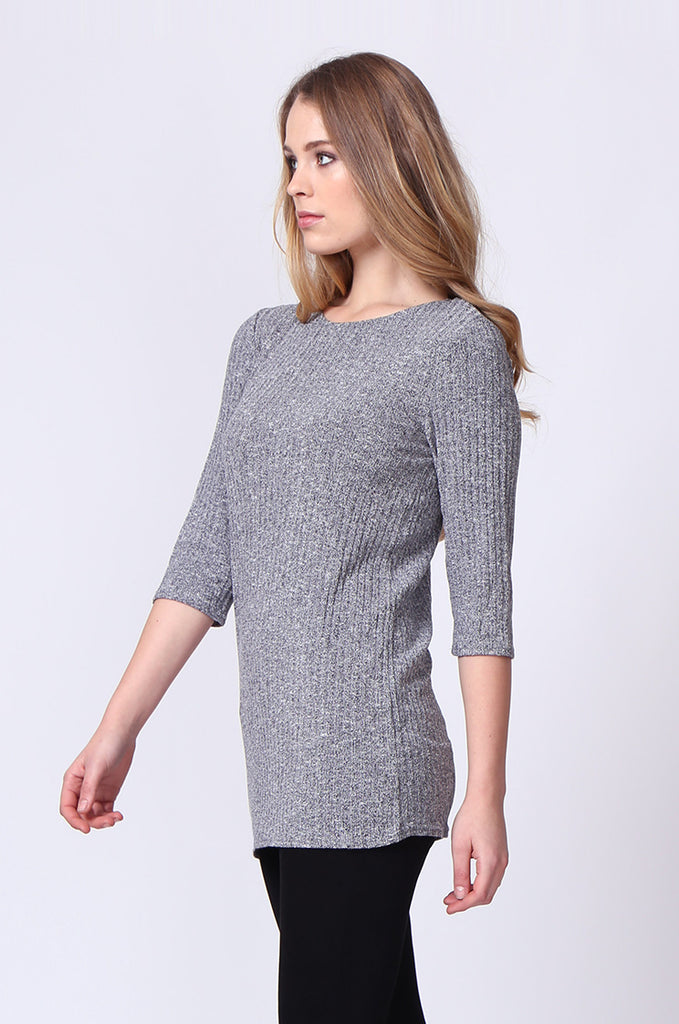 SJ0174-GREY BUCKLE BACK RIBBED TUNIC TOP view 2