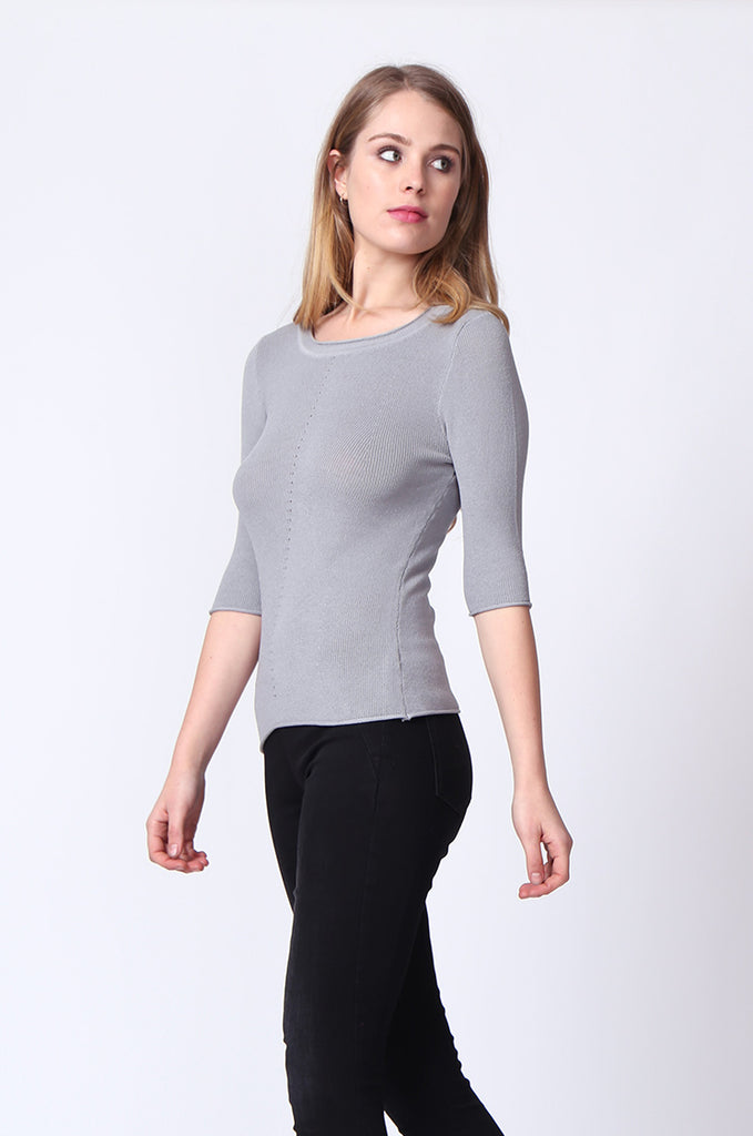 SJ0166-GREY SLEEVE EYELET PANEL CREW NECK TOP view 2