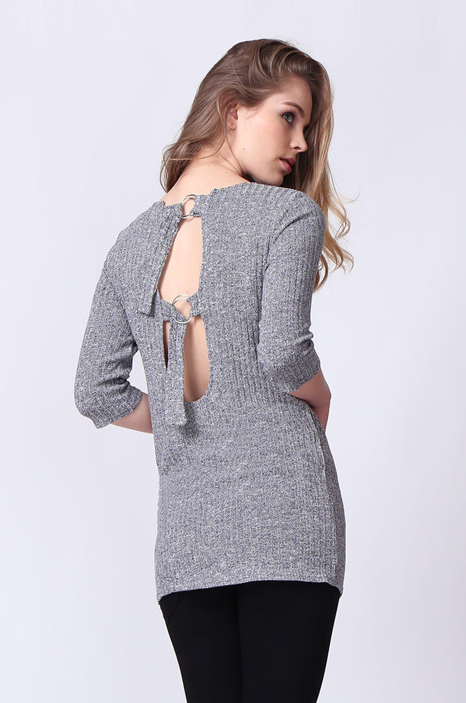 SJ0174-GREY BUCKLE BACK RIBBED TUNIC TOP view 3