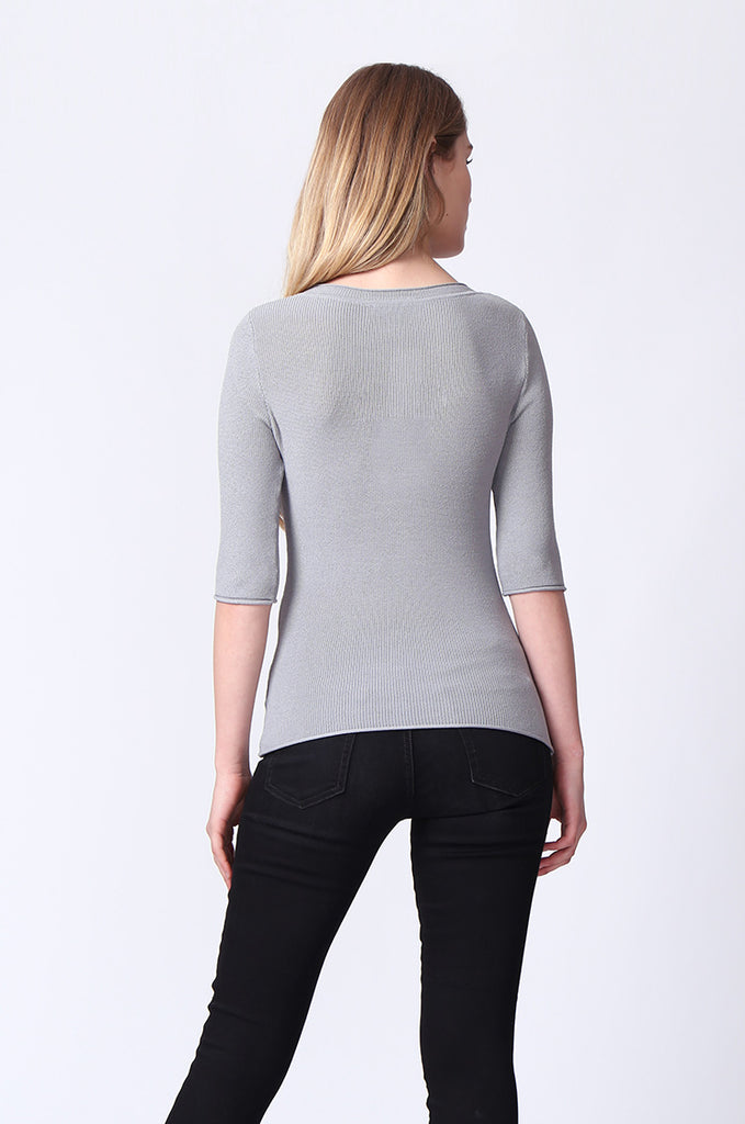 SJ0166-GREY SLEEVE EYELET PANEL CREW NECK TOP view 3