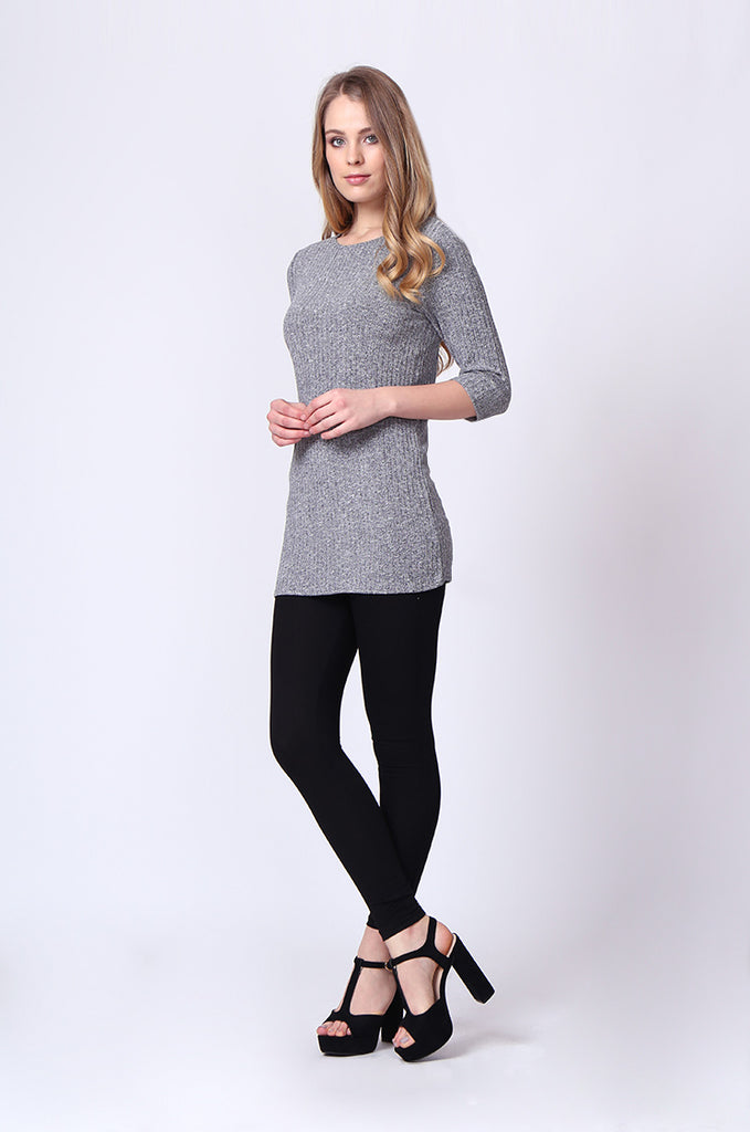 SJ0174-GREY BUCKLE BACK RIBBED TUNIC TOP view 4