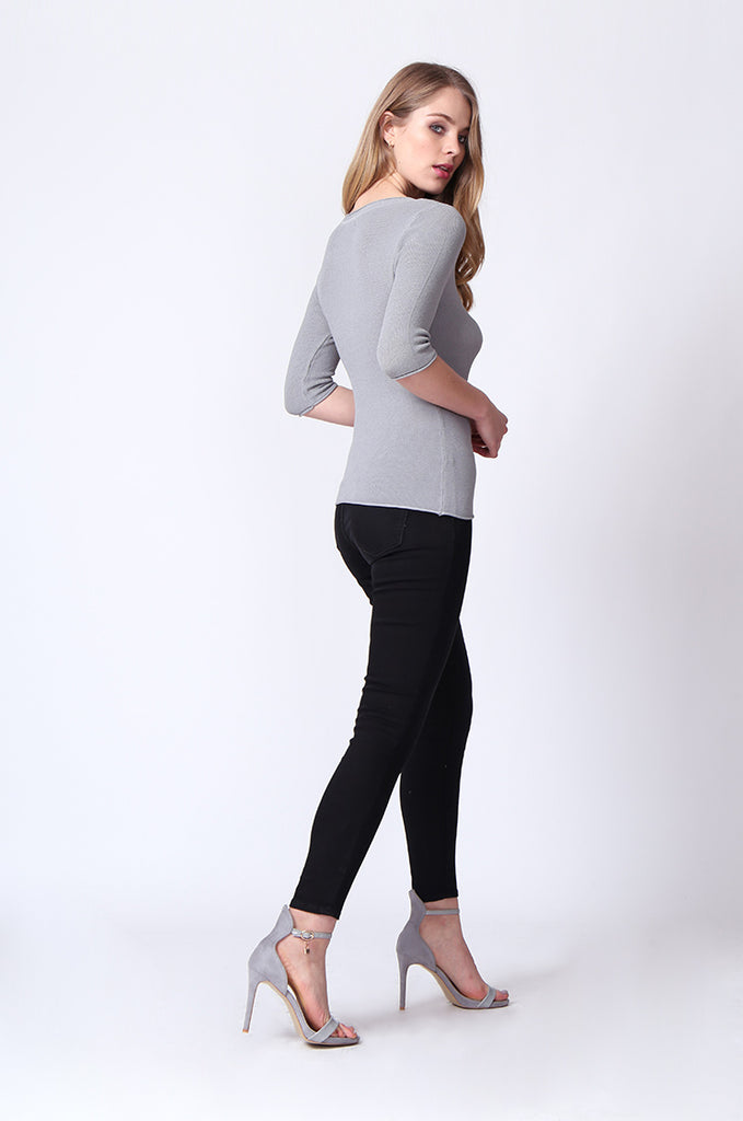 SJ0166-GREY SLEEVE EYELET PANEL CREW NECK TOP view 4